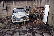 Cologne, North Rhine-Westphalia, Germany, Car, aging Trabant, also called Trabi, bulky - JATF000668