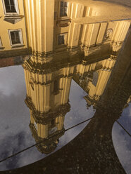 Germany, Bavaria, Munich, Reflection of Theatine Church in a puddle - LAF000566
