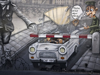Germany, Berlin, detail of graffiti on Berlin wall - LA000546