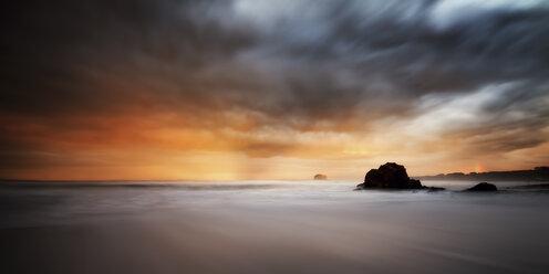 UK, Scotland, East Lothian, North Berwick, storm at sunset - SMA000181