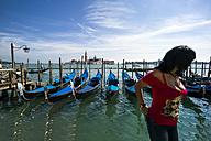 Italy, Venice, Gondolas and church San Giorgio Maggiore - EJW000258