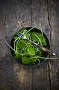 Bowl of winter purslane (Claytonia perfoliata) on wooden table - LVF000656