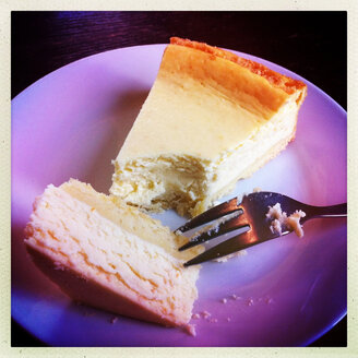 German cheese cake with fork - JAWF000013