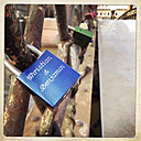 Love lock with two men's names on the Jungfernbruecke, homosexuality. Speicherstadt, Hamburg, Germany. - ZMF000226