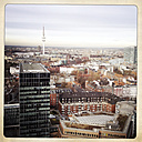 View from above of downtown, modern building and TV tower. Hamburg, Germany - ZMF000219