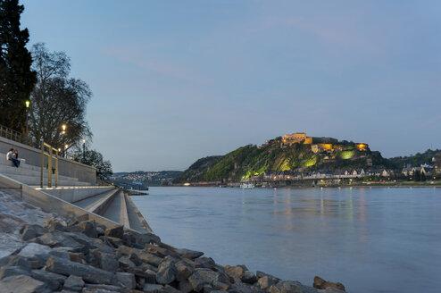 Germany, Koblenz, Rhine river near Ehrenbreitstein fortress - PA000419