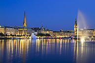 Germany, Hamburg, Binnenalster with skyline at blue hour - KRP000285