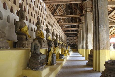 Laos, Vientiane, Wat Si Saket, row of Buddhas - SJ000092
