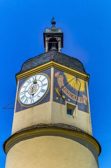 Germany, Bavaria, Burghausen, Sundial at castle tower - EJWF000318