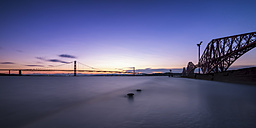 Great Britain, Scotland, South Queensferry, Forth Road Bridge and Forth Bridge, sunset - SMAF000185