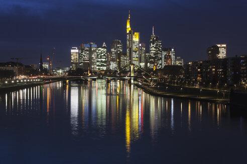 Germany, Hesse, Frankfurt am Main, financial district, Ignatz-Bubis-Bridge, skyline at night - ZMF000257