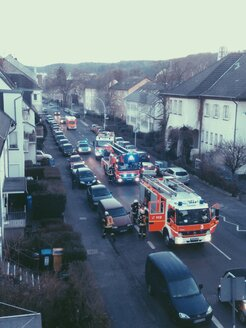 Fire trucks, firemen and ambulance standing on a street in Bonn, North Rhine-Westphalia, Germany - MEA000166