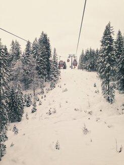 Snowy mountain in Reit im Winkl with gondel to Winklmoosalm, Bavaria, Germany - MEA000180