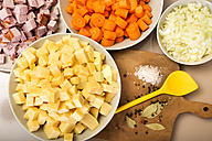 Chopped ingredients for Turnip Carrot Stew, Low Carb - CSTF000053