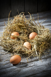 Easter nest and four brown eggs on grey wooden table - MAEF007944