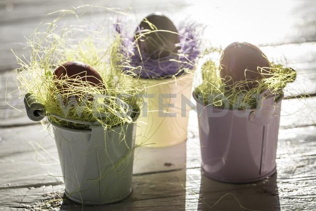 Easter eggs in small buckets - SARF000260 - Sandra Rösch/Westend61