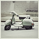 Germany, Hassia, Hofheim, Snowed up Scooter in Winter - IP000056