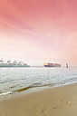Germany, Hamburg, incoming Container ship MOL Quest, harbour, beach Oevelgoenne, in the morning - MS003403