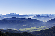 Germany, Upper Bavaria, Bavaria, Chiemgau Alps, Aschau, View from Kampenwand, Schleching and Tiroler Ache, left Loferer Steinberge, right Unterberghorn - SIEF005096