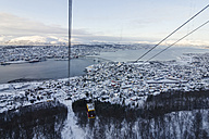 Norway, Troms, Tromso, View from Storsteinen, Cable Car, Cityscape, Tromso Bridge in winter - PAF000445