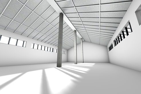 Architecture visualization of an empty industrial building, 3D Rendering - SPCF000018