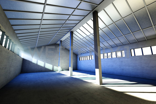 Architecture visualization of an empty industrial building, 3D Rendering - SPCF000015