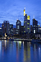 Germany, Hesse, Frankfurt, Skyline with River Main at night - WI000434