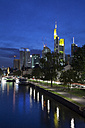 Germany, Hesse, Frankfurt, Skyline with River Main at night - WI000437