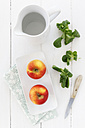 Empty jar, bowl with two apples kitchen knife and lamb's lettuce on white wooden table, elevated view - EVGF000387