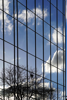 Clouds reflecting in glass front of an office building - HOHF000524