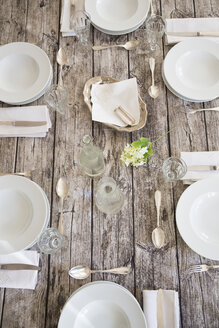 Festive laid table for six persons, partial view - LVF000750