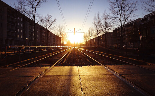 Germany, Potsdam, tracks in the sunset - AFF000011