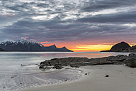 Scandinavia, Norway, Lofoten, sundown at the coastline of Utakleiv - STSF000324