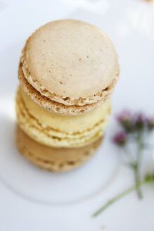 Stack of three macarons, elevated view - AFF000020