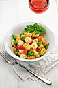 Bowl of gnocchi with tomato sauce, mozzarella balls and basil - IPF000067