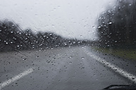 View through windscreen with raindrops - MUF001444