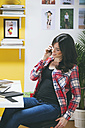 Female fashion blogger telephoning at her office - EBSF000052