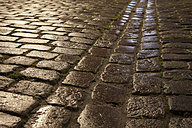 Germany, Munster, Wet cobblestone pavement - WIF000463