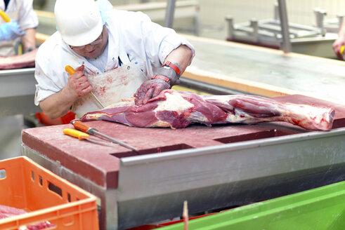 Worker in a factory preparing meat - SCH000062
