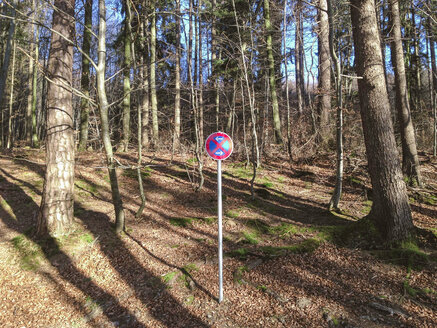 stopping restriction, forest, Bavaria, Germany - GSF000771