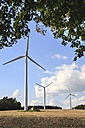 Germany, Bavaria, Wind turbines on a field near Coburg - VT000145