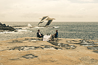 Australia, Sydney, two men sitting with beer at table on cliff - FBF000278