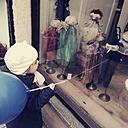 Little girl, window, dolls, Munich, Bavaria, Germany - GS000787