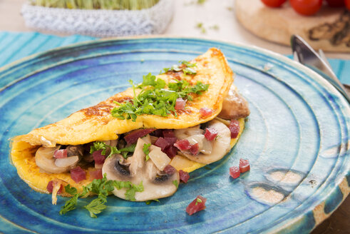 Omelette with champignon, onion and ham on plate - CSTF000144