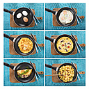 Collage with variation of egg dishes in frying pan - CSTF000156