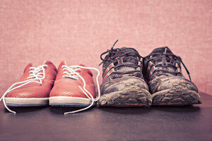 Close up of a pair running shoes and sneakers - VTF000151
