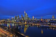 Germany, Hesse, Frankfurt am Main, Skyline in the evening - TIF000032