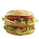 Burger with pulled pork, tomato and salad, white background - ECF000440