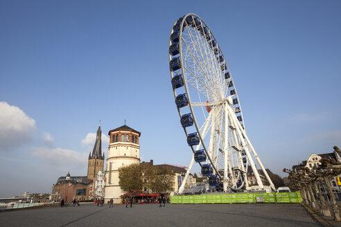 Germany, North Rhine-Westphalia, Duesseldorf, Burgplatz, Castle Tower, Shipping Museum, Lambertus Church and Big Wheel - WI000481