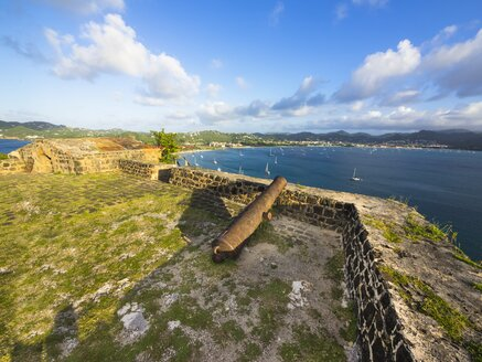Caribbean, St. Lucia, Cannon at Fort Rodney, Pigeon Island - AMF001888